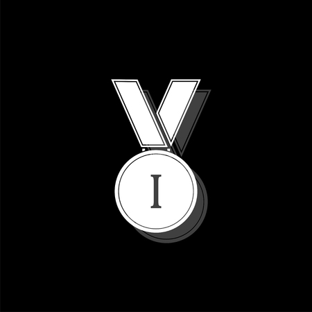 Medal. White flat simple icon with shadow Illustration
