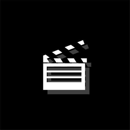 Film flap. White flat simple icon with shadow Ilustracja
