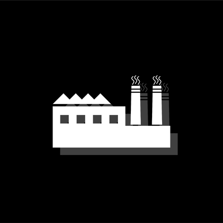 Industrial building factory and power plants. White flat simple icon with shadow Illustration