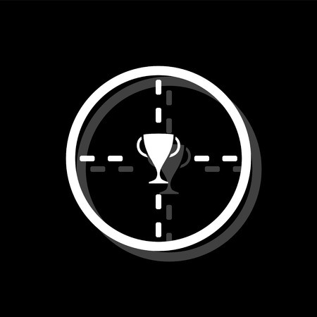 Trophy target. White flat simple icon with shadow