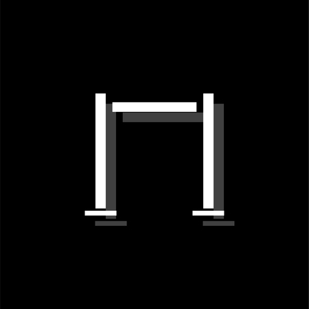 Horizontal bar. White flat simple icon with shadow