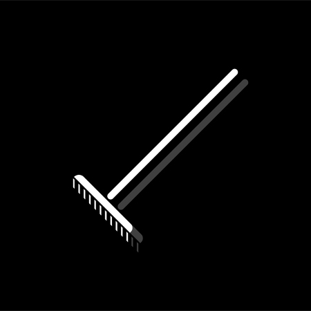 Rake. White flat simple icon with shadow