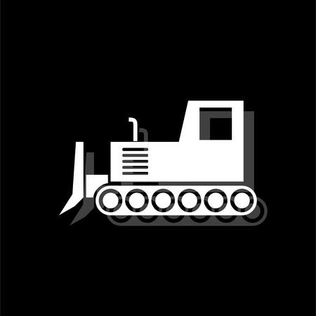Bulldozer. White flat simple icon with shadow