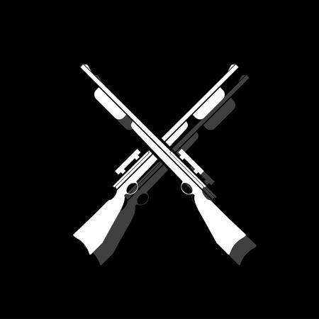 Crossed shotguns, hunting rifles. White flat simple icon with shadow