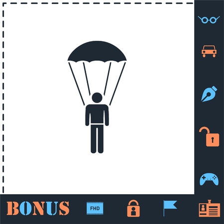 Parachutist. Perfect icon with bonus simple icons