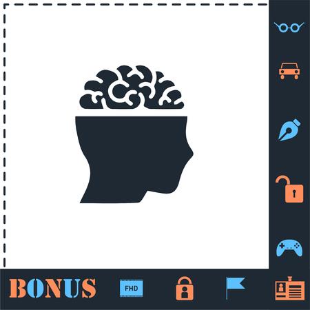 Open mind. Perfect icon with bonus simple icons