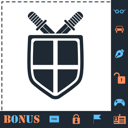 Shield and sword. Perfect icon with bonus simple icons Banco de Imagens - 121873397