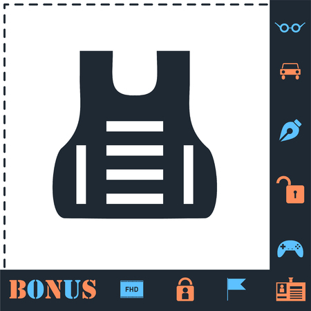 Bullet proof vest body armor suit. Perfect icon with bonus simple icons Illustration