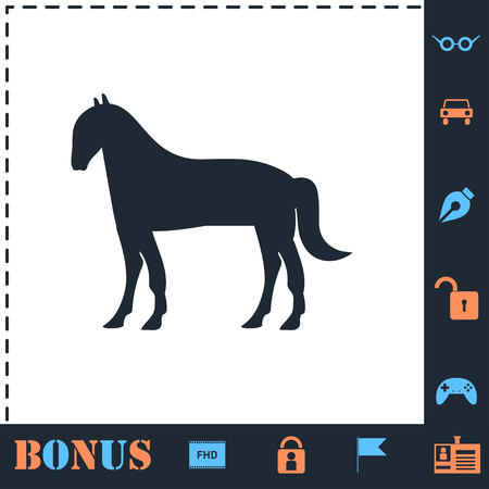 Horse. Perfect icon with bonus simple icons 矢量图像