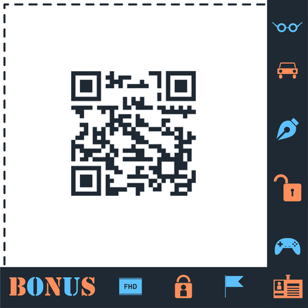 Qr code. Perfect icon with bonus simple icons