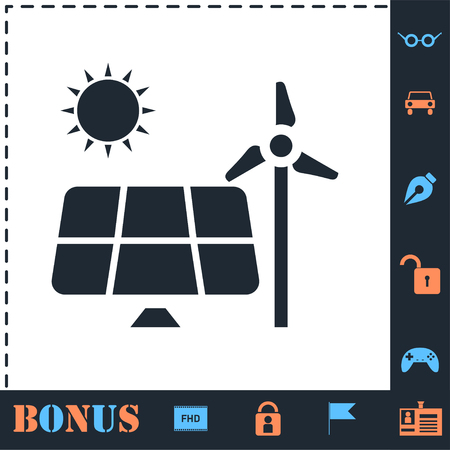 Solar panel and windmills for energy. Perfect icon with bonus simple icons Archivio Fotografico - 124046945
