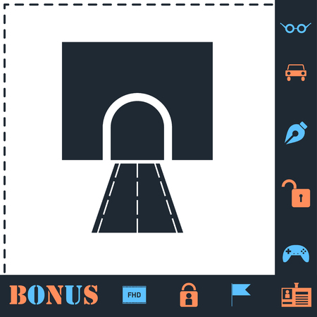 Road tunnel. Perfect icon with bonus simple icons