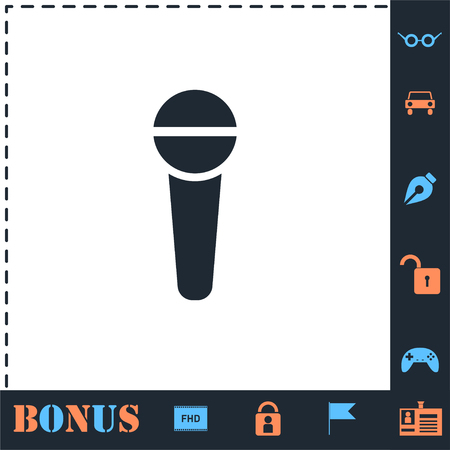 Reporter microphone. Perfect icon with bonus simple icons