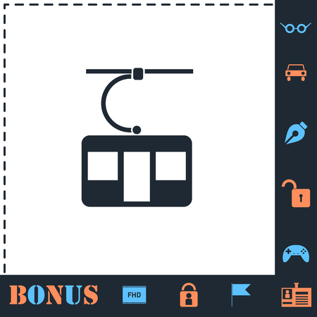 Ropeway cabines. Perfect icon with bonus simple icons 向量圖像