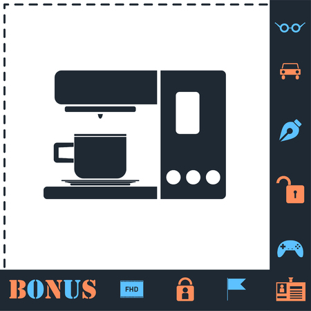 Coffee maker machine. Perfect icon with bonus simple icons Çizim