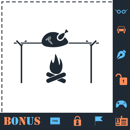 Skewer Chicken. Perfect icon with bonus simple icons