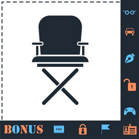 Director chair. Perfect icon with bonus simple icons Illustration