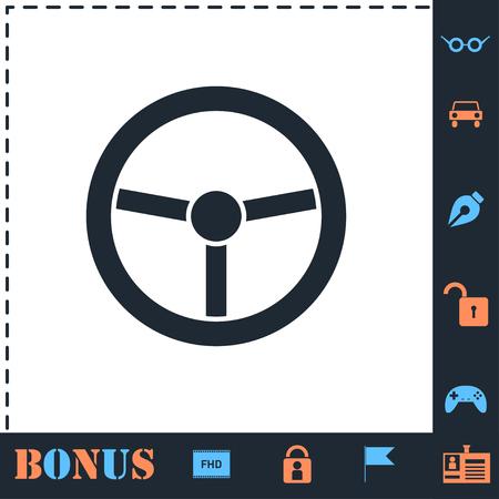 Steering Wheel. Perfect icon with bonus simple icons