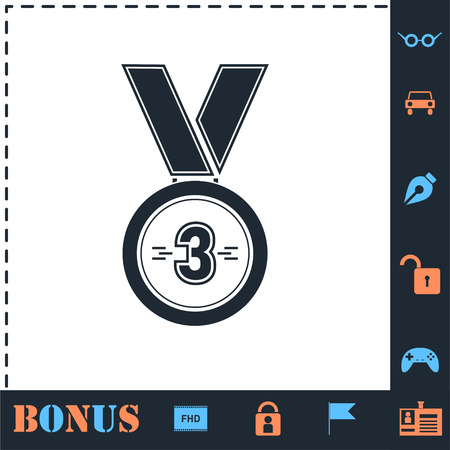 3 Winner Bronze Medal Award. Perfect icon with bonus simple icons
