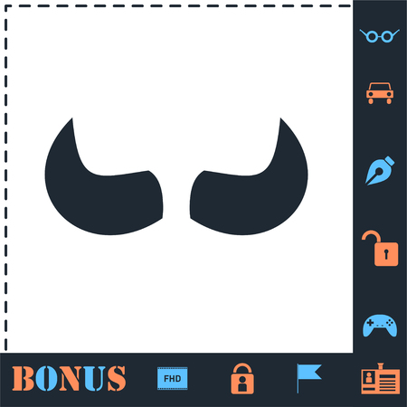 Bull Horns. Perfect icon with bonus simple icons
