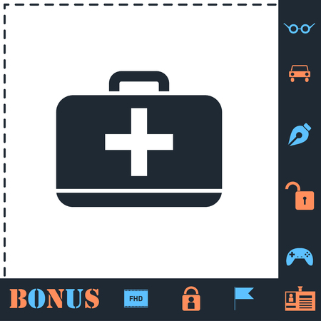 First aid kit. Perfect icon with bonus simple icons