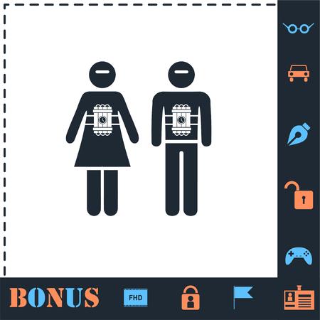 Terrorist. Perfect icon with bonus simple icons Illustration