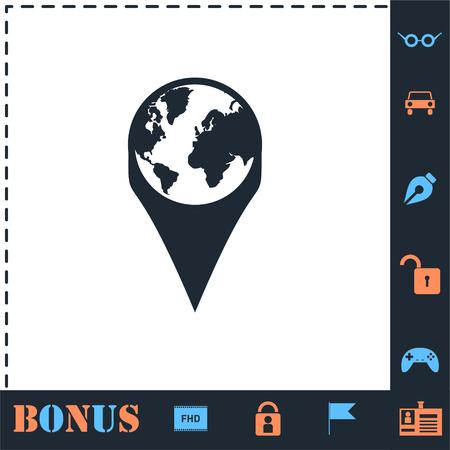 Globe pin. Perfect icon with bonus simple icons Ilustrace