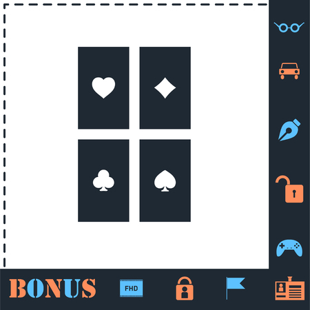 Game cards. Perfect icon with bonus simple icons 일러스트