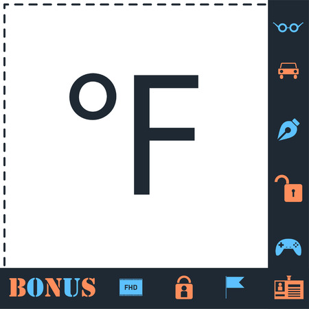 Fahrenheit. Perfect icon with bonus simple icons