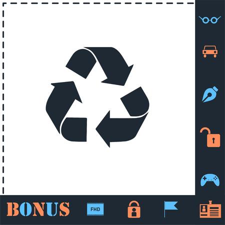 Flèche de recyclage. Icône parfaite avec des icônes simples bonus