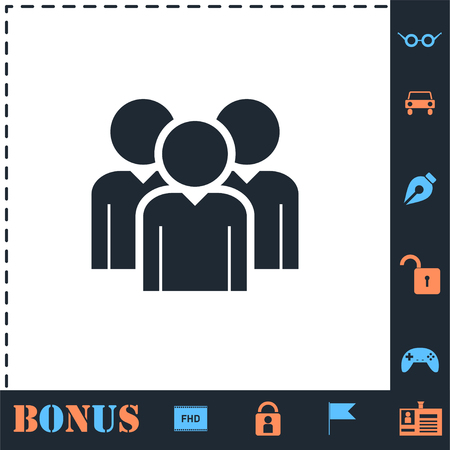 Friends. Perfect icon with bonus simple icons Illustration