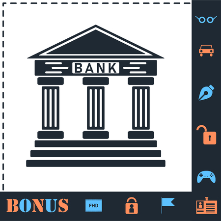 Bank. Perfect icon with bonus simple icons Illustration