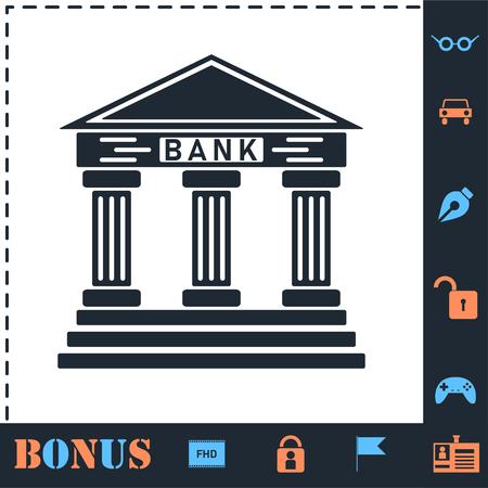 Bank. Perfect icon with bonus simple icons Illustration