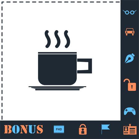 Coffee cup. Perfect icon with bonus simple icons Иллюстрация