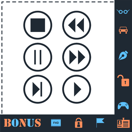 Video Audio Player buttons. Perfect icon with bonus simple icons