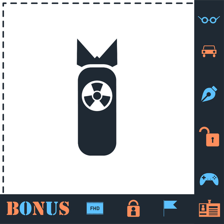 Nuclear bomb. Perfect icon with bonus simple icons
