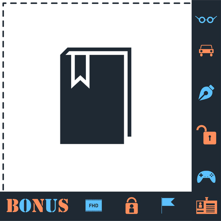 Book with bookmark. Perfect icon with bonus simple icons 일러스트