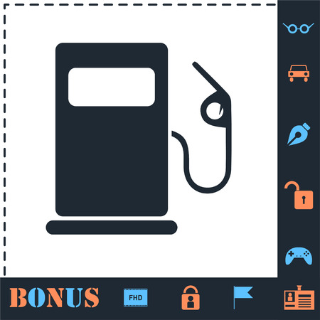 Gas station. Perfect icon with bonus simple icons Ilustracja