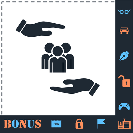 Helping hands. Perfect icon with bonus simple icons