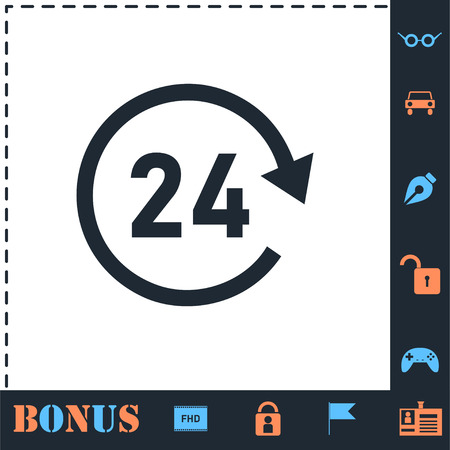 24 hours available. Perfect icon with bonus simple icons Vecteurs