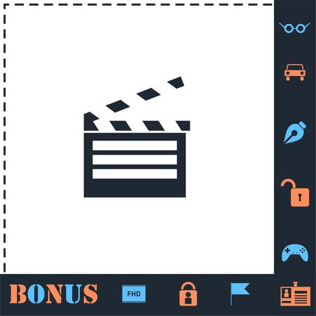 Film flap. Perfect icon with bonus simple icons