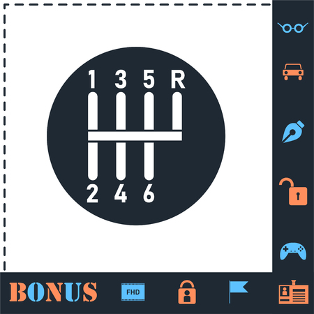 Gear shifter. Perfect icon with bonus simple icons