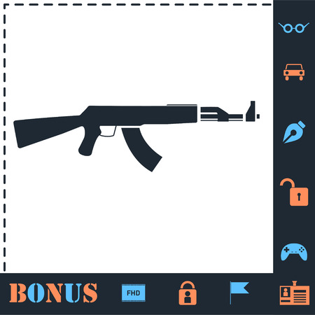 Assault rifle. Perfect icon with bonus simple icons