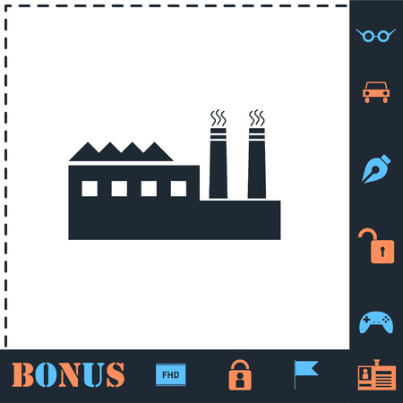 Industrial building factory and power plants. Perfect icon with bonus simple icons