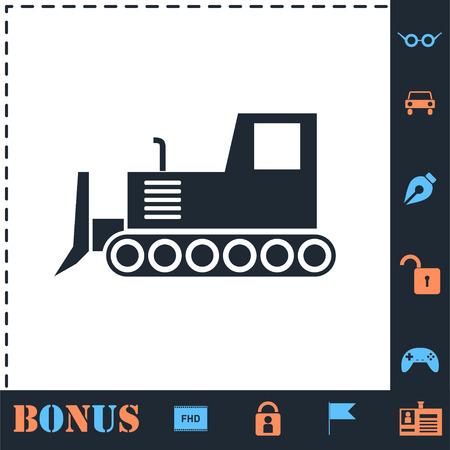 Bulldozer. Perfect icon with bonus simple icons
