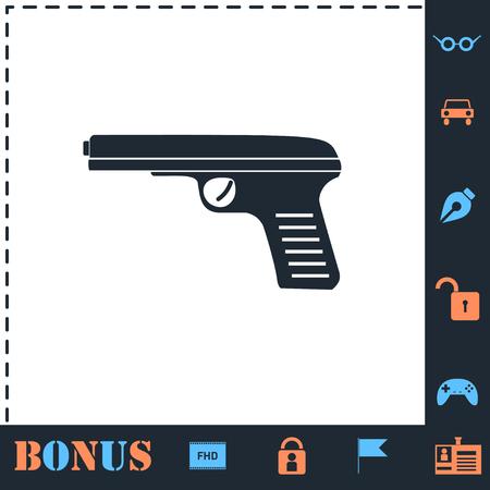 Gun. Perfect icon with bonus simple icons