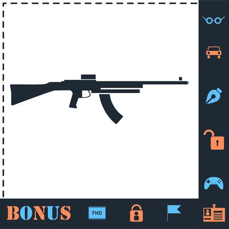Machine gun. Perfect icon with bonus simple icons