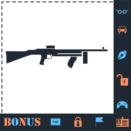 Automatic Rifle. Perfect icon with bonus simple icons 矢量图像