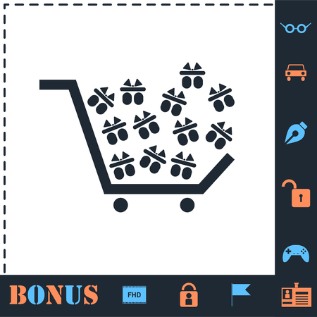 Shopping cart. Perfect icon with bonus simple icons