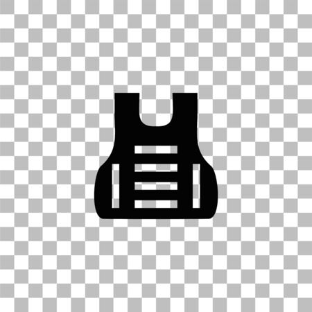 Bullet proof vest body armor suit. Black flat icon on a transparent background. Pictogram for your project Illustration